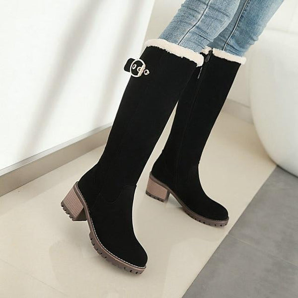 Thick Heel Knee High Boots-knee high boots-Vinny's Digital Emporium