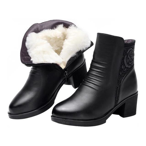 Genuine Leather Snow Boots | High Heel Ankle Boots-ankle boots-Vinny's Digital Emporium