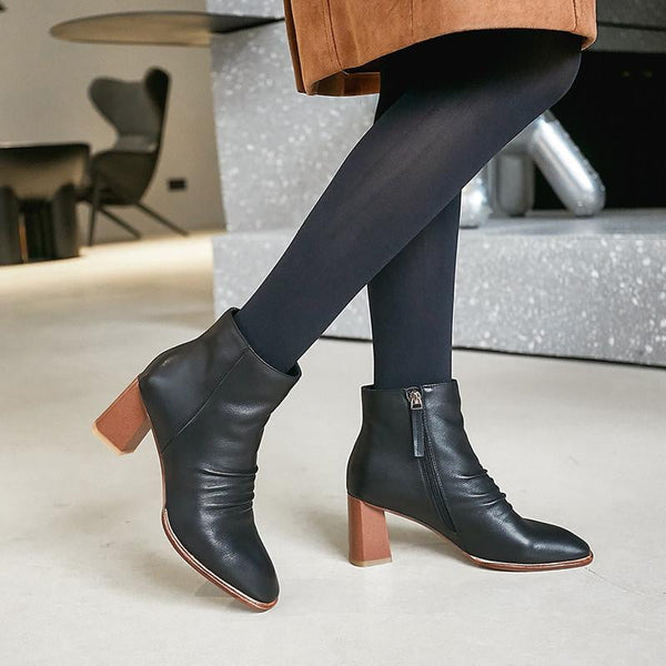 Genuine Leather Ankle Boots With Square Heel-ankle boots-Vinny's Digital Emporium