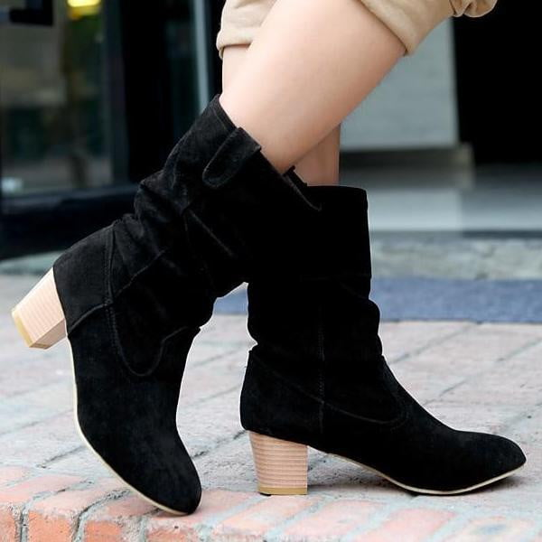 Mid Calf Boots With Square Heel For Women-mid calf boots-Vinny's Digital Emporium
