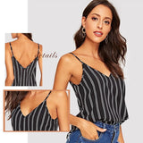 Double V Neck Vertical Striped Cami Top Camisole Blouse-cami tops-Vinny's Digital Emporium