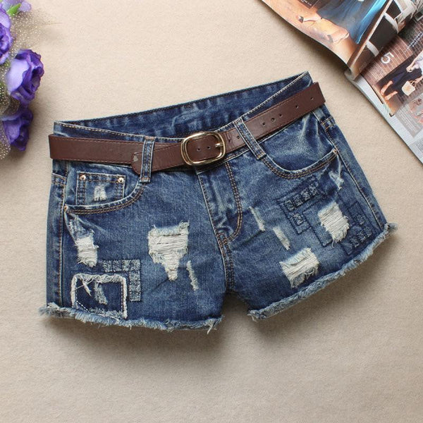 Ripped Casual Denim Jean Shorts For Women-denim jean shorts-Vinny's Digital Emporium