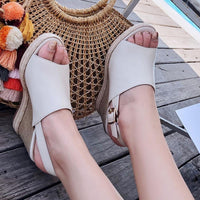 Genuine Leather High Heel Sandals | Wedge Heel Shoes-high heel sandals-Vinny's Digital Emporium