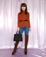 Snakeskin Print Over The Knee Boots With Square Heel-over the knee boots-Vinny's Digital Emporium