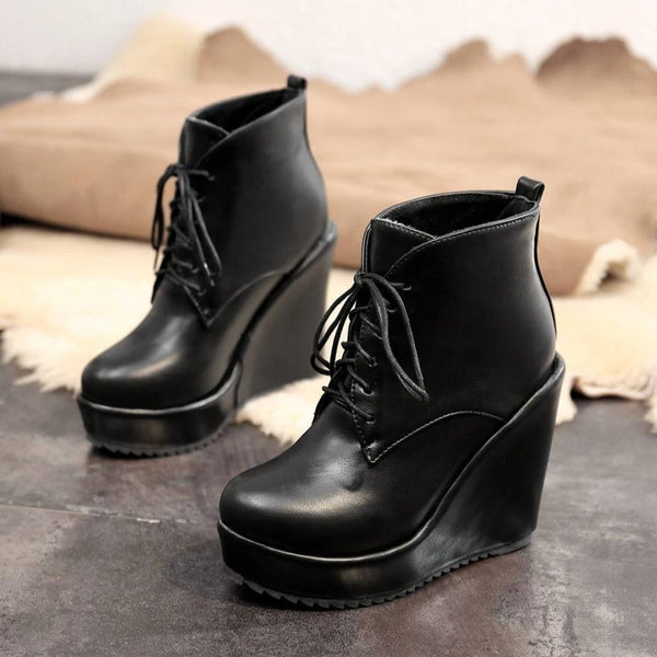 Lace Up Platform Ankle Boots With Wedge Heel For Women-wedge heel ankle boots-Vinny's Digital Emporium