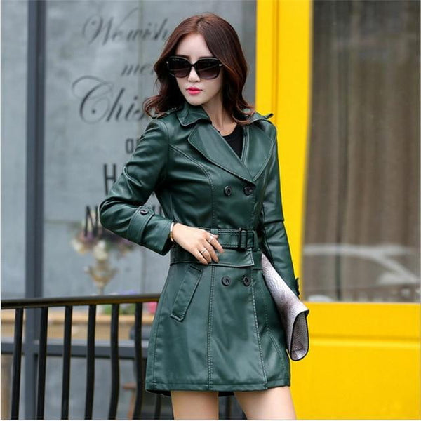 482fb61c6 Faux Leather Trench Coat Womens