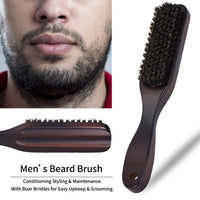 Men's Natural Wood Beard Brush With Horsehair Bristles And Long Handle-Wood Beard Brush-Vinny's Digital Emporium