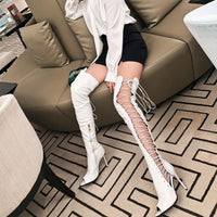 Gladiator Over The Knee Boots | Peep Toe High Heel Boots-over the knee boots-Vinny's Digital Emporium