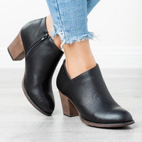Low Heel Ankle Boots With Pointed Toe | Women's Ankle Boots-ankle boots-Vinny's Digital Emporium