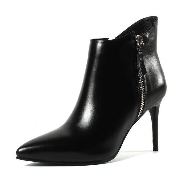 Genuine Leather Ankle Boots | Thin High Heel Pointed Toe Ankle Boots-ankle boots-Vinny's Digital Emporium