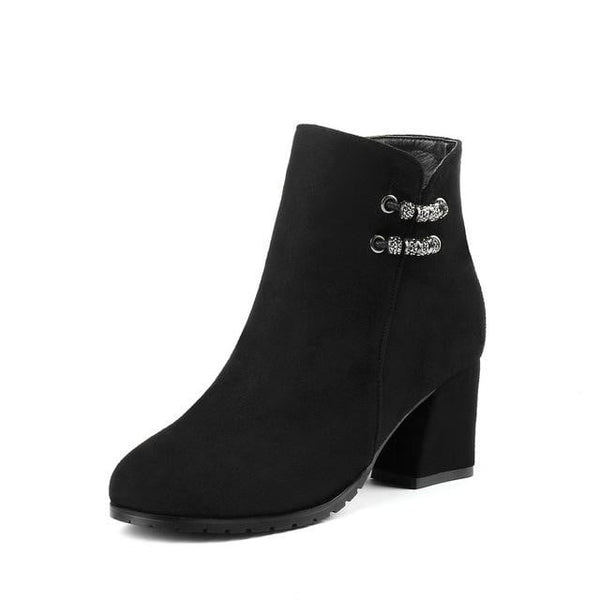Square High Heel Ankle Boots | Women's Ankle Boots-ankle boots-Vinny's Digital Emporium
