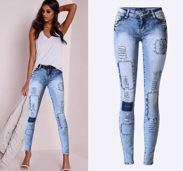 Sky Blue Denim Skinny Jeans | Women's Pencil Pants-womens jeans-Vinny's Digital Emporium