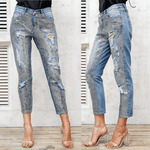Sequin Hole Blue Jeans | Blue Denim Pants