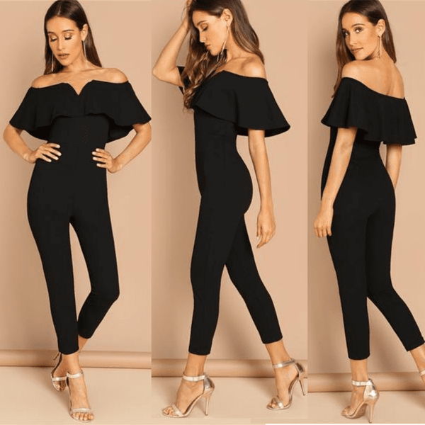 Off Shoulder Jumpsuit | Short Sleeve Ruffle Skinny Jumpsuit-jumpsuit-Vinny's Digital Emporium