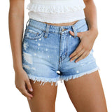 Frayed Skinny Denim Jean Shorts For Women | Casual Denim Shorts-denim shorts-Vinny's Digital Emporium