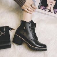 Thick Heel Ankle Boots | Women's Platform Boots-ankle boots-Vinny's Digital Emporium