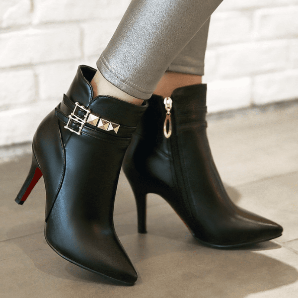 Pointed Toe High Heel Ankle Boots-ankle boots-Vinny's Digital Emporium