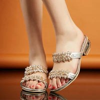 Women's Rhinestone Sandals Low Heel Shoes Bohemia Beach Flip Flops Slippers-sandals-Vinny's Digital Emporium