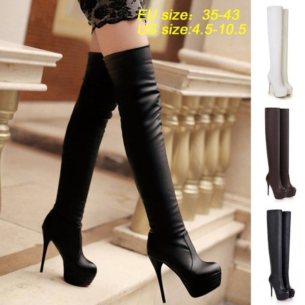 Thigh High Boots For Women | Stiletto Heeled Boots-boots-Vinny's Digital Emporium