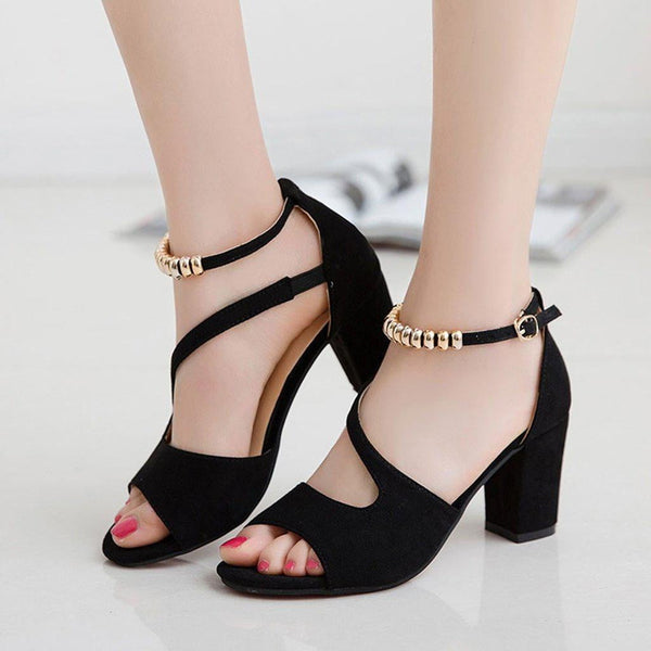 Women's Peep Toe Shoes Bow Chunky High Heel Sandals Pumps Summer Fashion-shoes-Vinny's Digital Emporium