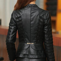 Women's Slim Vegan Leather Jacket-faux leather jacket-Vinny's Digital Emporium
