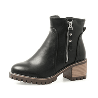 Women's Ankle Boots | Square Heel Riding Boots-ankle boots-Vinny's Digital Emporium