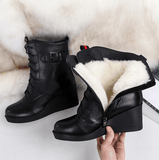 Lace Up Wedge Heels Boots | Genuine Leather Winter Boots-wedge heels boots-Vinny's Digital Emporium