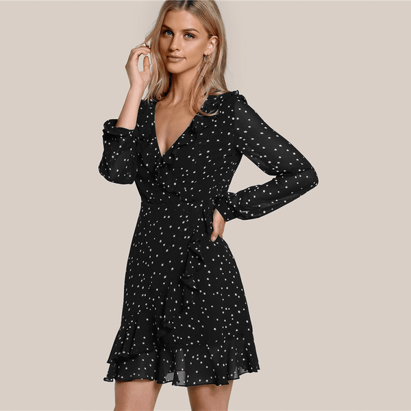 Black Dress With Sleeves | Casual Black Dress Above The Knee-Black Mini Dress-Vinny's Digital Emporium