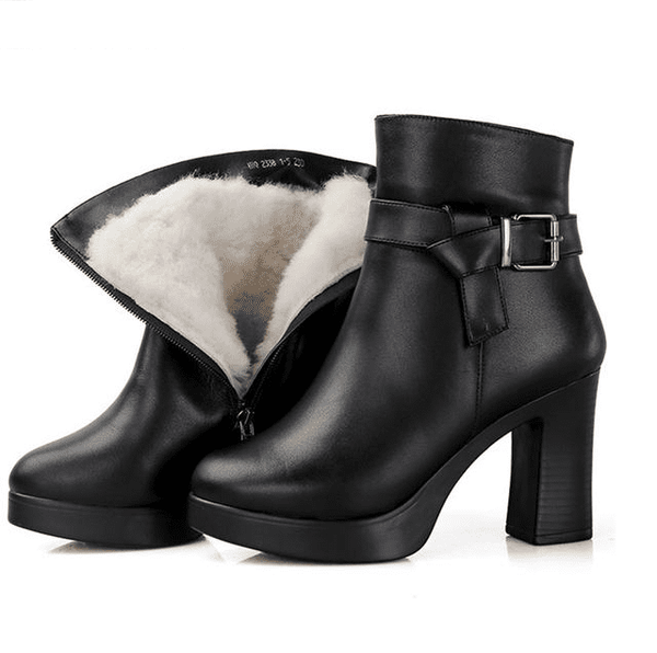 Genuine Leather Platform Boots | High Heel Snow Boots-platform boots-Vinny's Digital Emporium