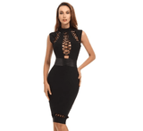 Black Bandage Bodycon Dress-bodycon dress-Vinny's Digital Emporium
