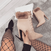 Lace Up High Heel Boots | Women's Ankle Boots-ankle boots-Vinny's Digital Emporium