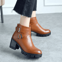Square Heel Ankle Boots For Women-ankle boots-Vinny's Digital Emporium