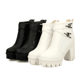 Square High Heel Ankle Boots | Motorcycle Ankle Boots-ankle boots-Vinny's Digital Emporium