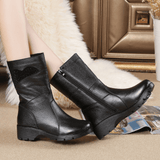 Genuine Leather Mid Calf Boots For Women-mid calf boots-Vinny's Digital Emporium