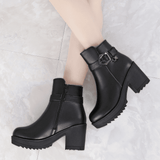 Thick High Heel Ankle Boots | Genuine Leather Boots-ankle boots-Vinny's Digital Emporium
