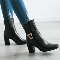 Thick Heel Ankle Boots-ankle boots-Vinny's Digital Emporium