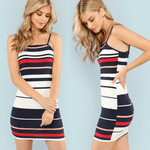 Striped Cami Dress | Bodycon Mini Dress-bodycon mini dress-Vinny's Digital Emporium