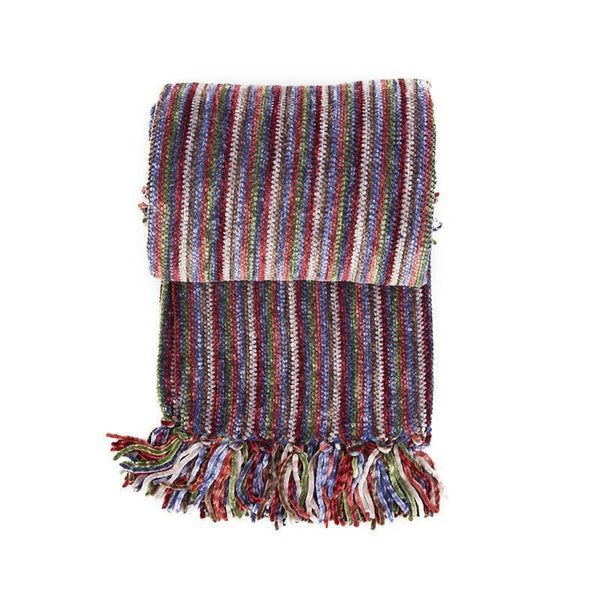 ... Christmas Decorative Blanket Chenille Striped Throw With Tassel For Sofa  Bed Travel Blanket Throw Blanket ...