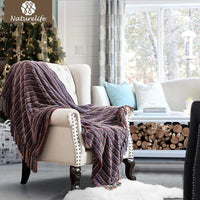 Chenille Striped Decorative Throw Blanket With Tassel-Throw Blanket-Vinny's Digital Emporium