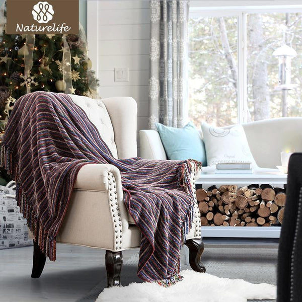 Christmas Decorative Blanket Chenille Striped Throw with Tassel for Sofa Bed Travel Blanket-Throw Blanket-Vinny's Digital Emporium