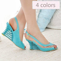 Women's Shoes Wedge High Heel Pumps Ankle Strap Buckle Open Toe Sandals-shoes-Vinny's Digital Emporium