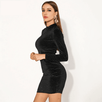 Black Long Sleeve Bodycon Mini Dress-mini dress-Vinny's Digital Emporium