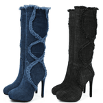 Denim Knee High Boots | Women's Platform Boots-knee high boots-Vinny's Digital Emporium