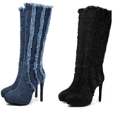 Denim Knee High Boots For Women-knee high boots-Vinny's Digital Emporium