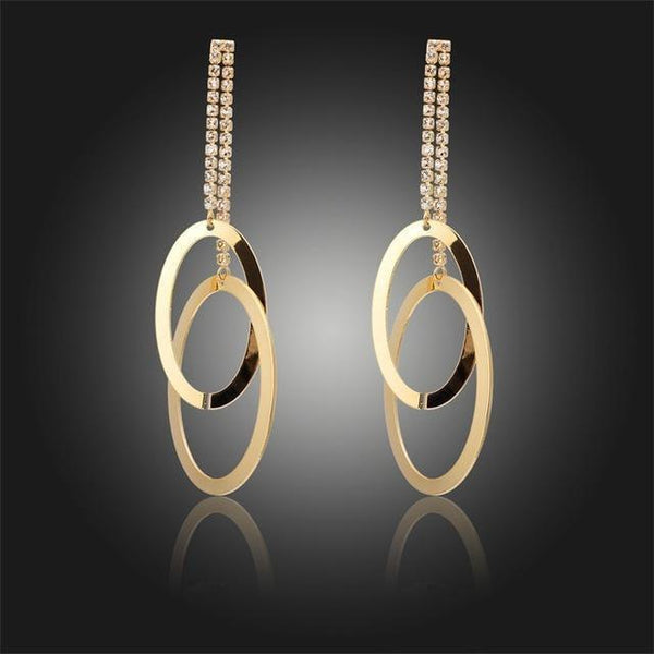Double Chain Earrings Linked Oval Hoop Circles Long Drop Dangle Earrings-earrings-Vinny's Digital Emporium