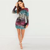 Sequin Sexy Mini Dress | Long Sleeve Party Dress-mini dress-Vinny's Digital Emporium