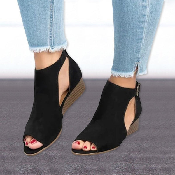 Wedge Heel Ankle Boots Peep Toe Sandals High Heel Shoes-shoes-Vinny's Digital Emporium