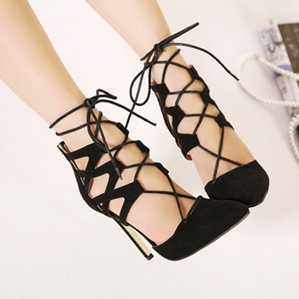 Women's High Heel Shoes Summer Party Pointed Toe Ankle Lace Up Pumps Sandals-shoes-Vinny's Digital Emporium