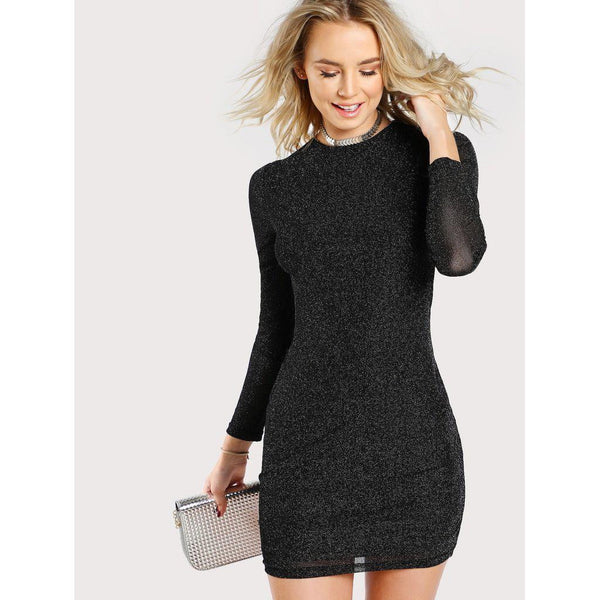 Women's Pencil Dress Glitter Form Short Bodycon Long Sleeve Party-dress-Vinny's Digital Emporium