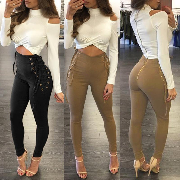 High Waist Pants Casual Stretch Lace-up Pencil Long Trouser Fit Legging-pants-Vinny's Digital Emporium